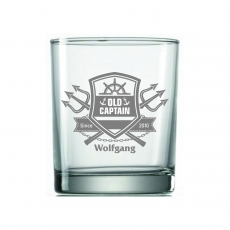 Whiskyglas Seefahrer Old Captain mit Wunschname und Jahrgang