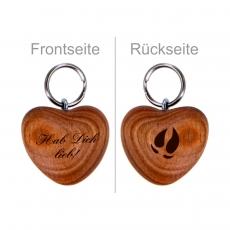 Schlüsselanhänger Holzherz Blockhausen aus Kirschholz