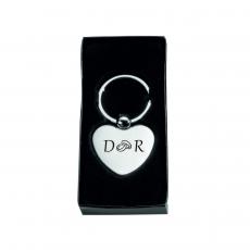 Schlüsselanhänger Metall-Herz mit Wunschbuchstaben und Motiv (Lasergravur)