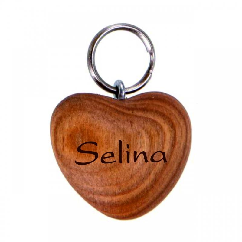 Schlüsselanhänger Holz-Herz mit Wunschname