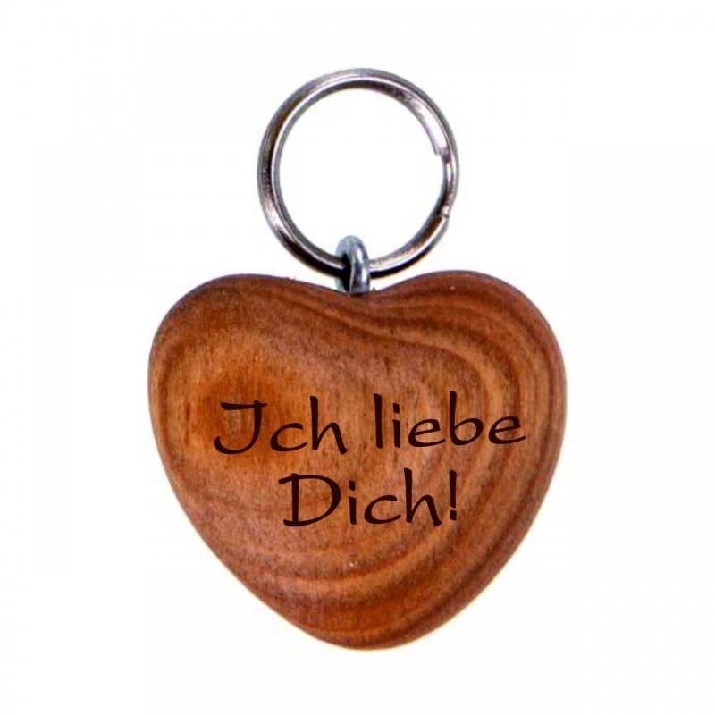 Schlüsselanhänger Holz-Herz mit Spruch