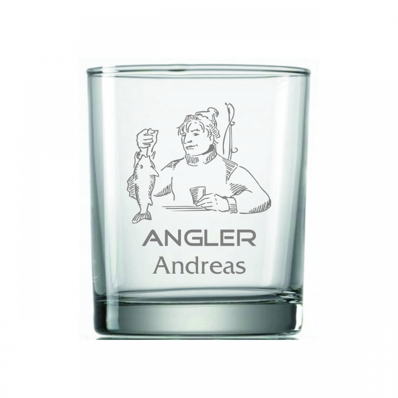 Whiskyglas Angler mit Wunschname
