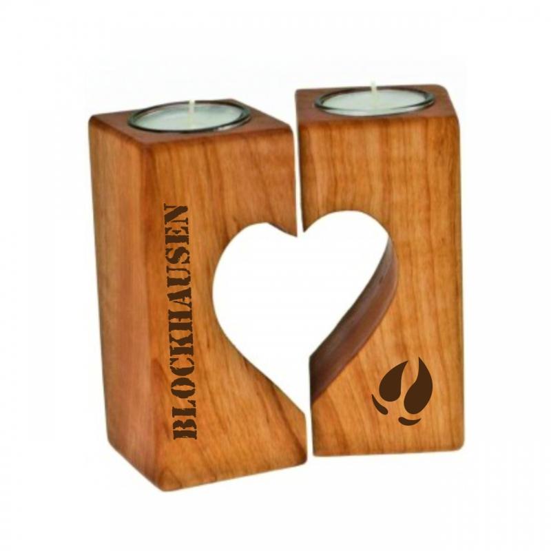 Teelichthalter Herz Blockhausen aus Erlenholz