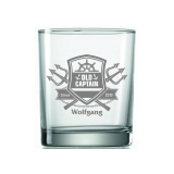Whiskyglas Seefahrer Old Captain mit Wunschname und Jahrgang
