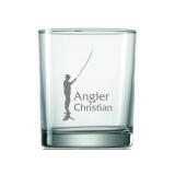 Whiskyglas Angler im Gewässer mit Wunschname