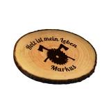 Untersetzer Rindenscheibe Holz ist mein Leben mit Wunschname
